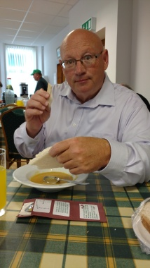 Sam, enjoying his pea soup at Soup & Sweet luncheon
