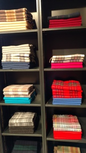Scarves for sale at the woolen mill in Elgin